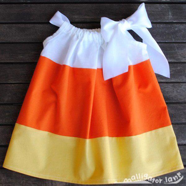 Candy Corn Dress Pillow Case Dress Halloween Dress Yellow Orange White Girls Toddler Dress Candycorn Pillowcase Dress Candy Corn Costume. via Etsy.