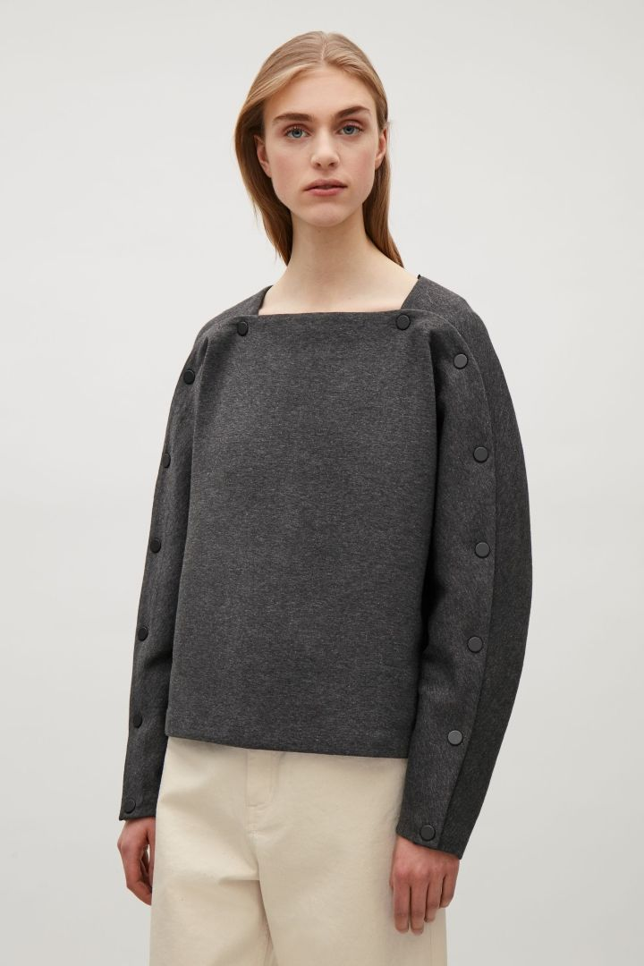 COS image 2 of Top with button detailed sleeves in Dark Grey