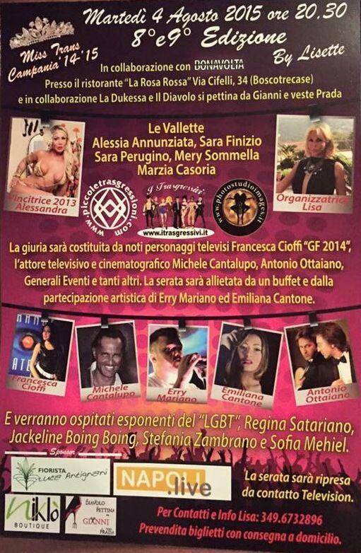 BOSCOTRECASE: Start 4 Agosto per la Kermesse MISS TRANS CAMPANIA ED. 2015