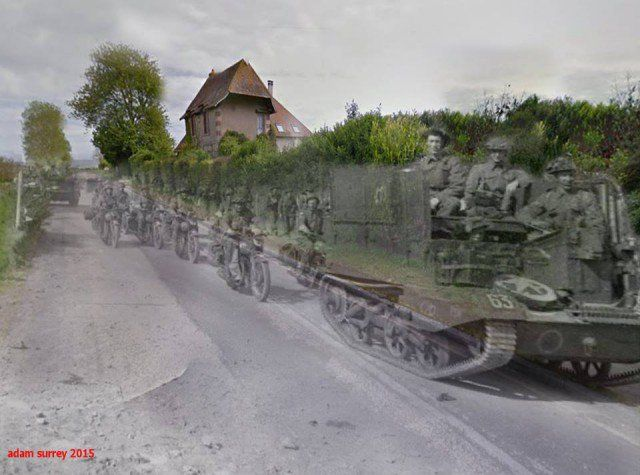 Universal carriers and motorcycles driving inland from Arromanches during the build-up of Allied reinforcements in the bridgehead, 22 June 1944 -2015 (in reality its Route du Débarquement Saint-Côme-de-Fresné)