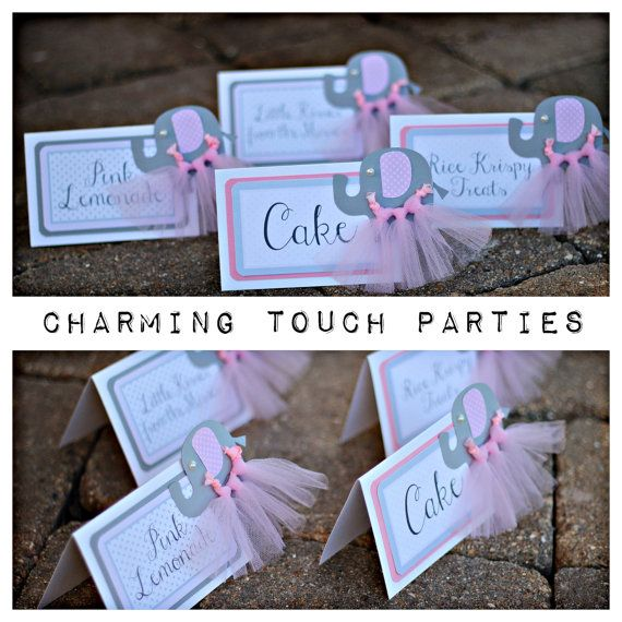 Elephant Baby Shower / Party Decorations.  Food Tents (6).  Fully assembled and customizable.  Charming Touch Parties.  Pink/gray/tutu.