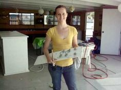 Can't afford new furniture. Here is a video on how to paint formica surfaces. Yes, I have formica furniture. :/