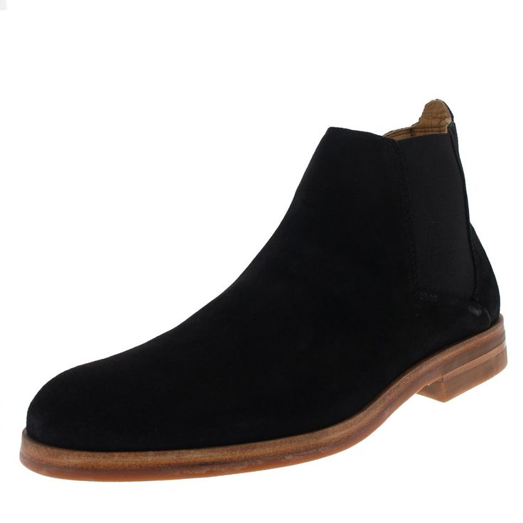 Mens H By Hudson Tonti Smart Dealer Suede Ankle Casual Chelsea Boots - Black - 10