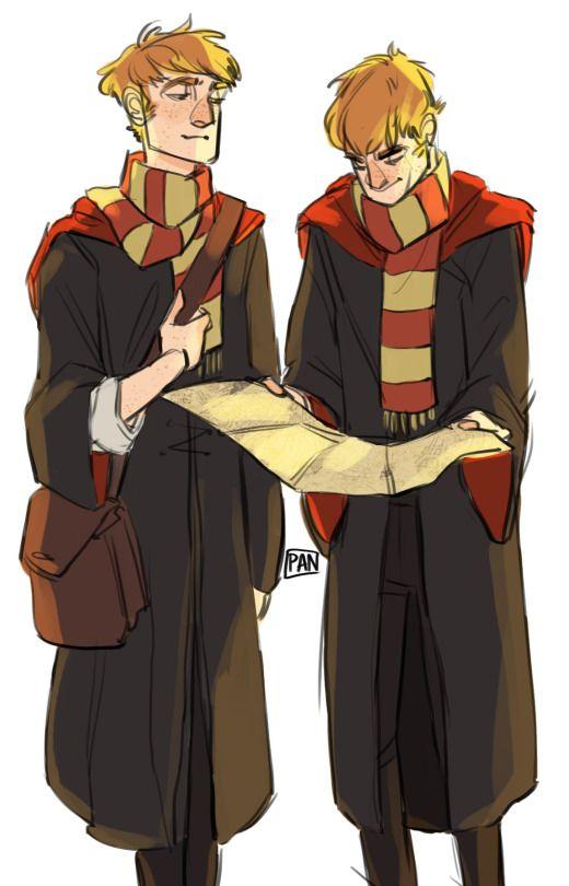 The Weasley Twins in winter wear by Art of Pan.