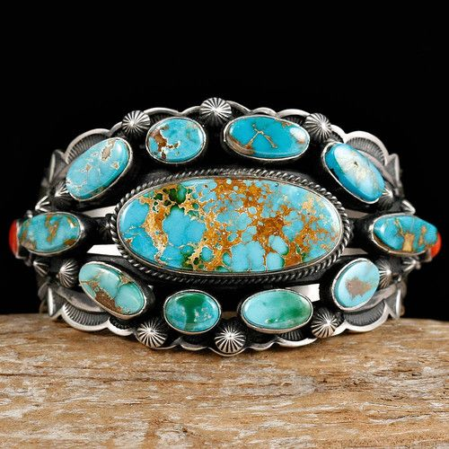 Cuff | Aaron Toadlena. (Navajo).  Sterling silver and Roystone Turquoise.