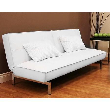 Belle Faux Leather Convertible Futon Sofa Bed White