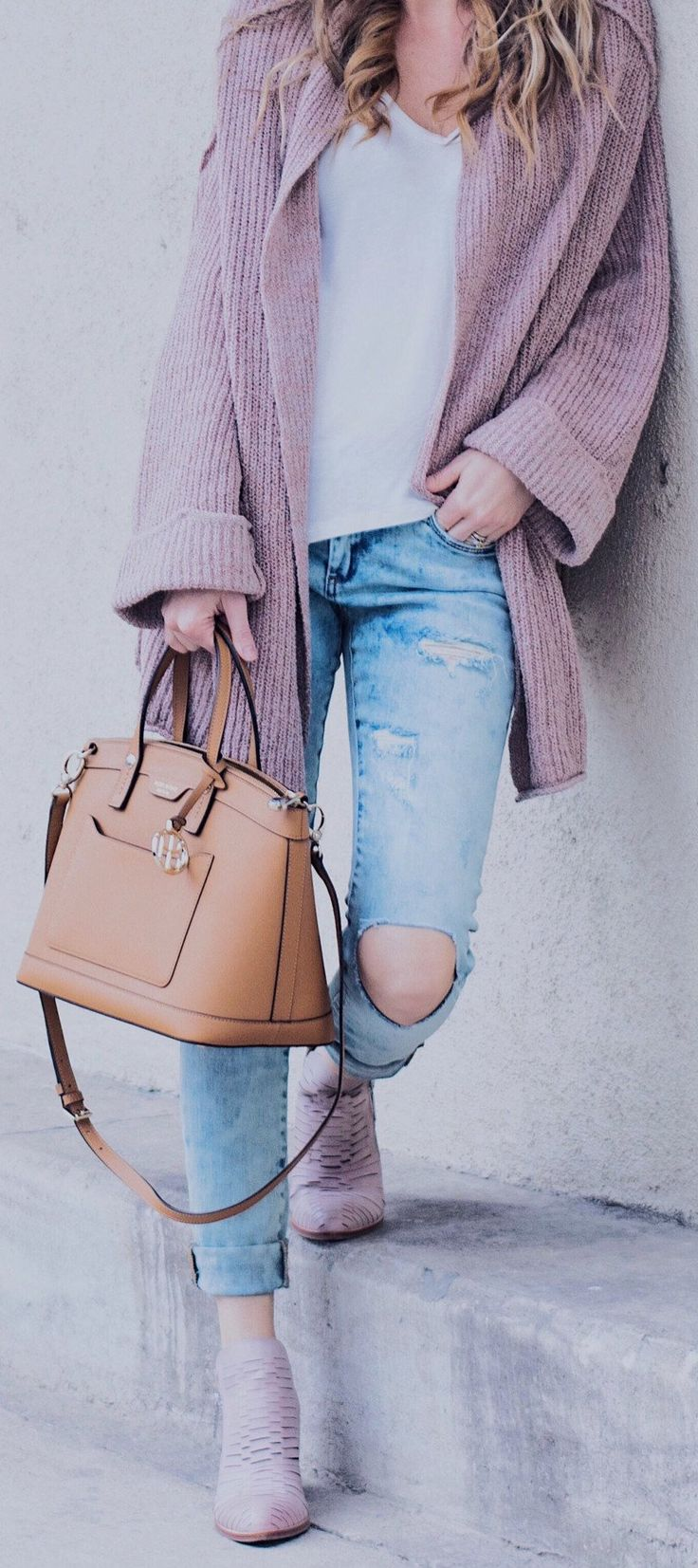 #winter #outfits /  Purple Cardigan / White Cami / Camel Leather Tote Bag / Purple Booties