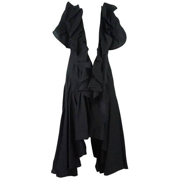 Preowned Akira Black Silk Sleeveless Coat With Large Ruffles - 8 -... ($1,150) ❤ liked on Polyvore featuring outerwear, coats, black, akira, ruffle coat, long silk coat, sleeveless long coat and sleeveless coats