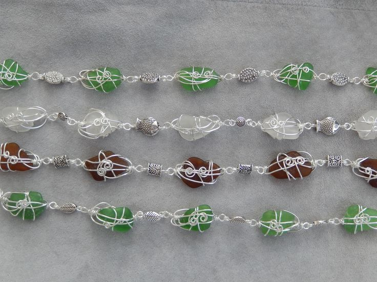 Genuine sea glass bracelets with silver-plated findings