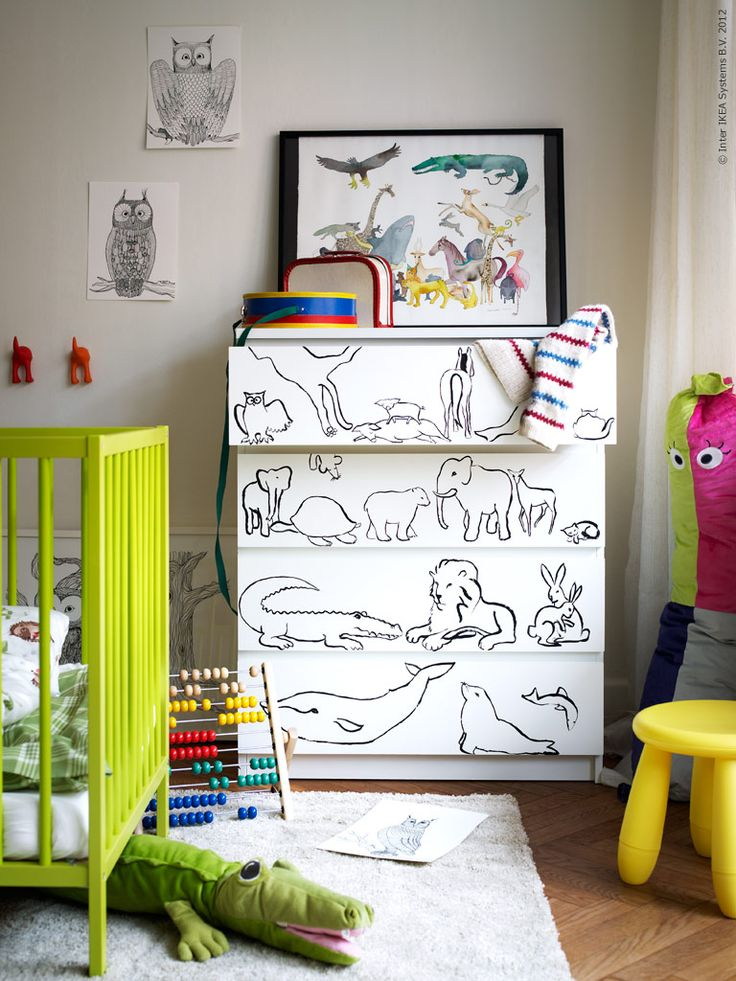 DIY MALM inspiration for a kid's bedroom! William has this dresser! Could ask Unca Lar for a custom illustration .... Or any of my other talented uncles :)