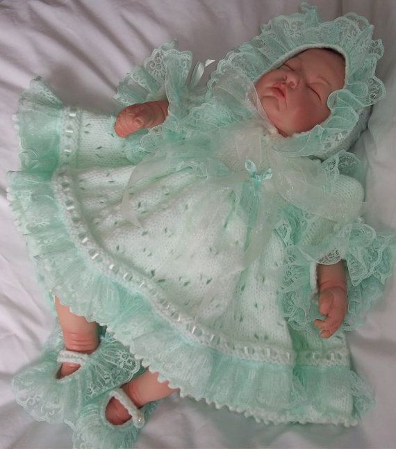 PDF Knitting Pattern 26 Reborn 0-3 Baby Reborn Dress Bloomers Bonnet and Shoes Double Knit