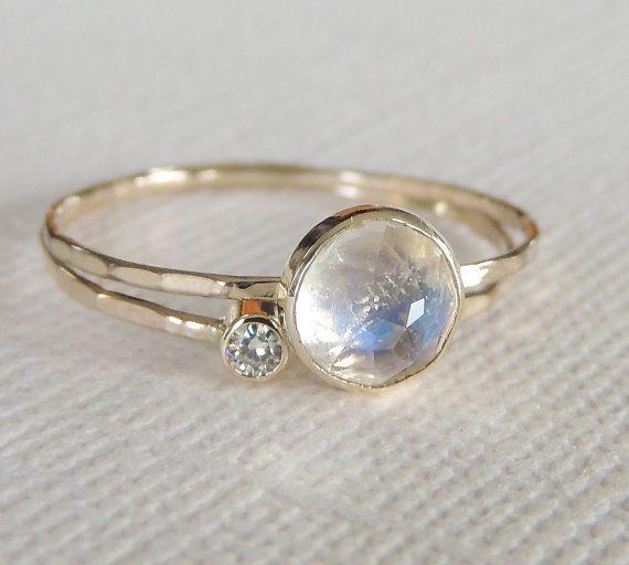 Rainbow Moonstone Ring Set, Moissanite Ring Set, Diamond Ring, Engagement Ring, Wedding Band, White Gold Ring, 14k Gold Ring, Stacking Rings  A 6mm rose