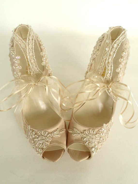 Wedding Shoes Champagne Embroidered Lace by KUKLAfashiondesign