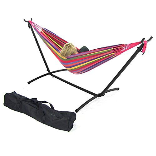 Sunnydaze Cotton Double Brazilian Hammock & Stand Combo With Portable Carrying Case - Tropical, 65 Inch Wide, 124 Inch Long, 2015 Amazon Top Rated Hammock Stands #Lawn&Patio