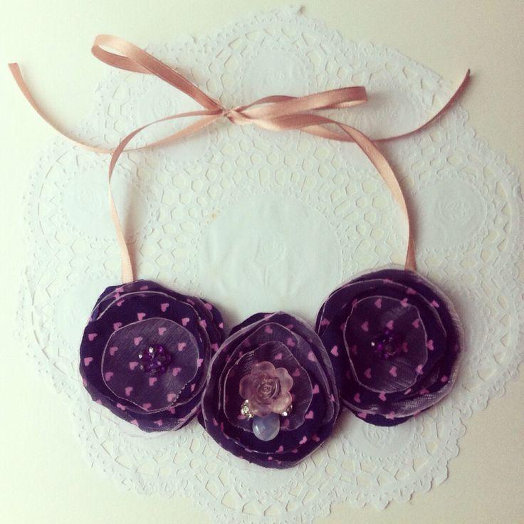 Handmade purple fabric fliwer necklace