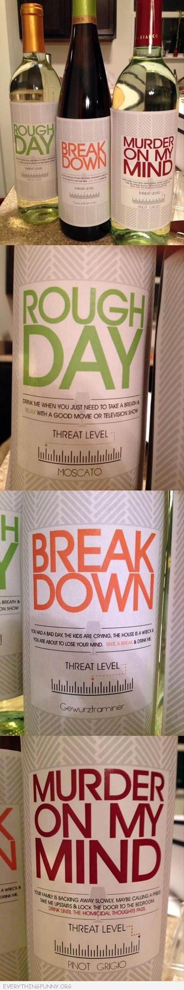 funny wine bottle labels break down rough day murder on my mind
