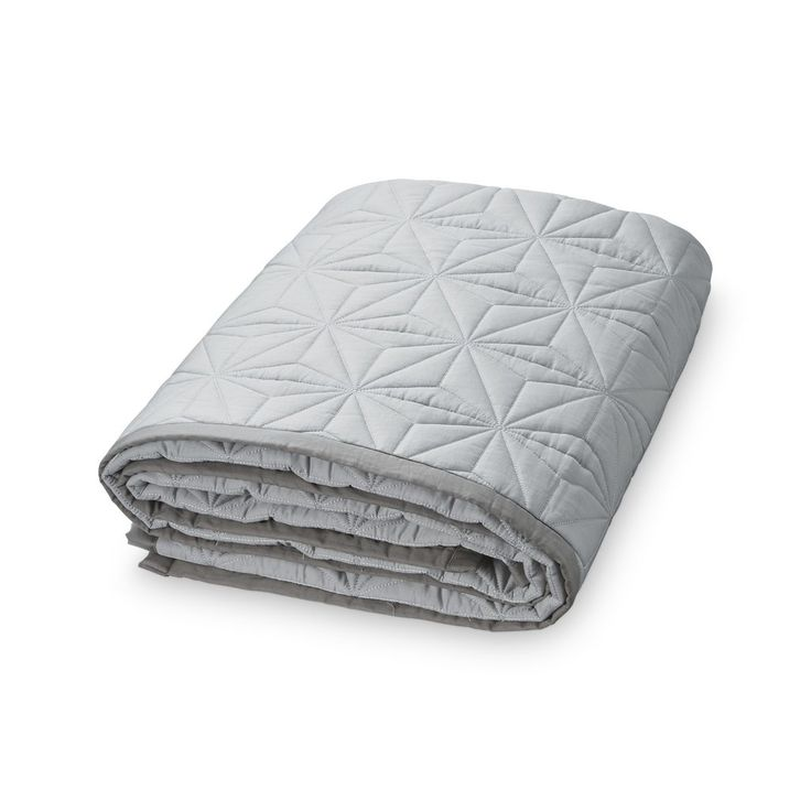 CAM CAM quilted blanket / Copenhagen Danish designer homewares / Large & thick bedroom throw topper / grey blanket cotton / soft interiors
