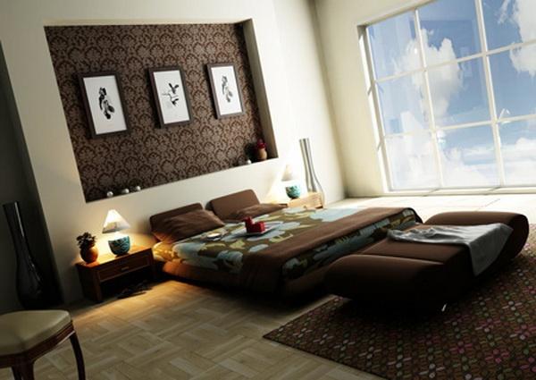 Elegant Bedroom Brown Interior Big Windows