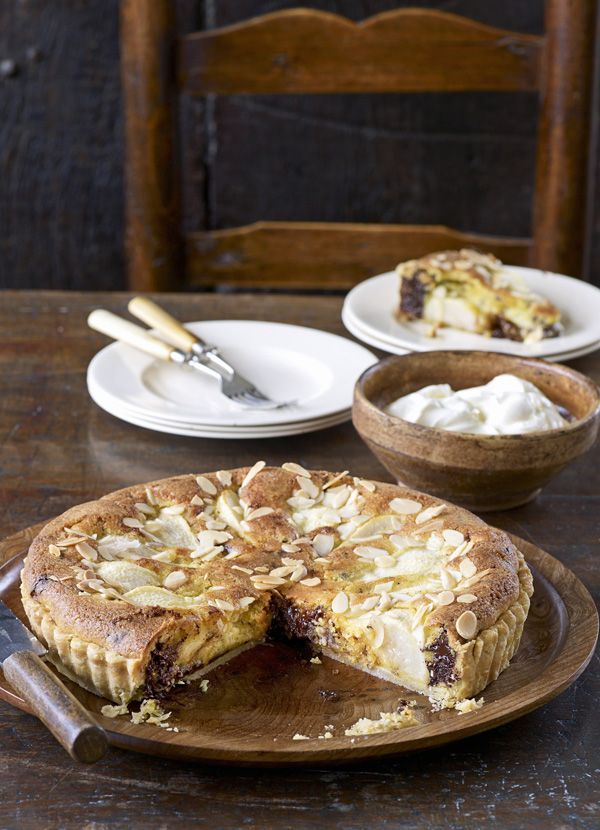 Pear and chocolate frangipane tart