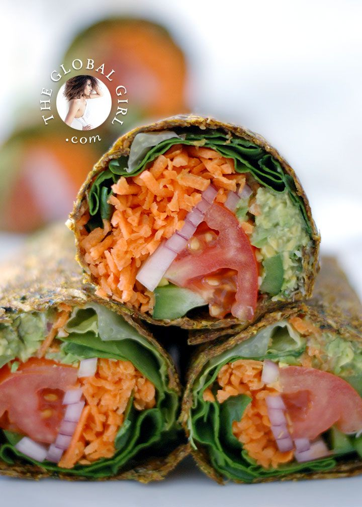 The Global Girl Raw Mexican Recipes: Raw Vegan Guacamole Burrito in Zucchini and Flaxseed Wrap. 100% vegan, gluten-free and dairy free.