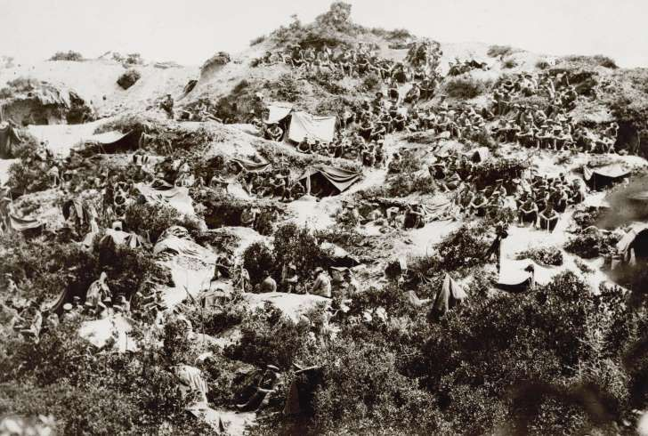 Australian soldiers are seen at Shrapnel Gully, Anzac area on the Gallipoli peninsula, during the ill-fated campaign in WWI, in 2015