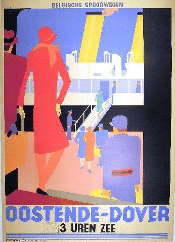 Marfurt - Oostende-Dover - 1928 vintage poster