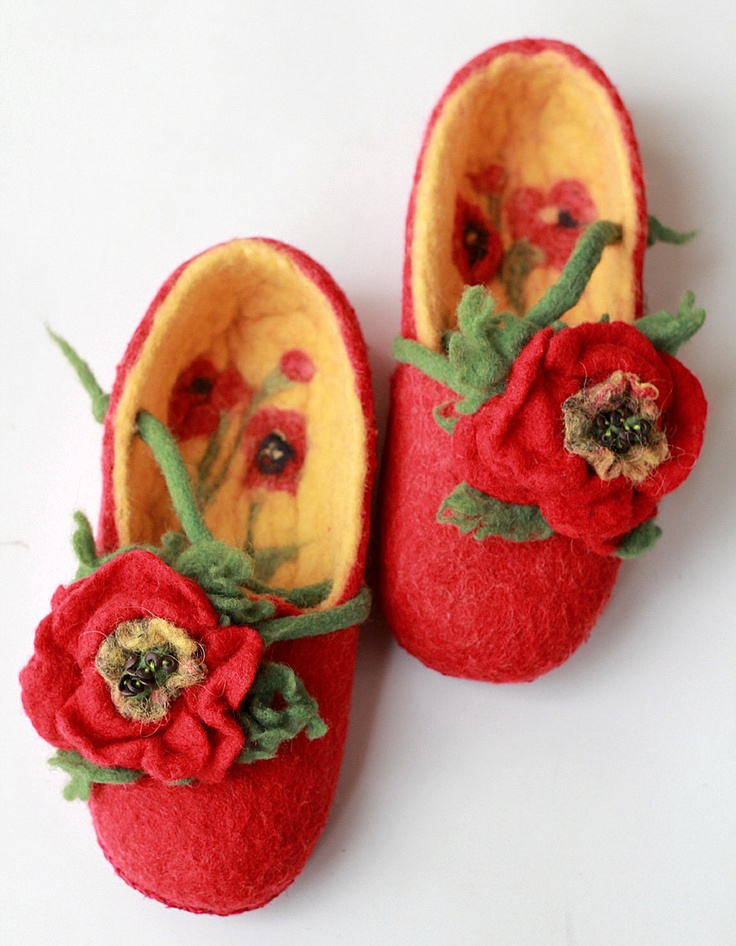 Made to order  warm hand felted red women slippers with felted flowers poppies cute design gift idea for her size 5 1/2-6. $60.00, via Etsy.