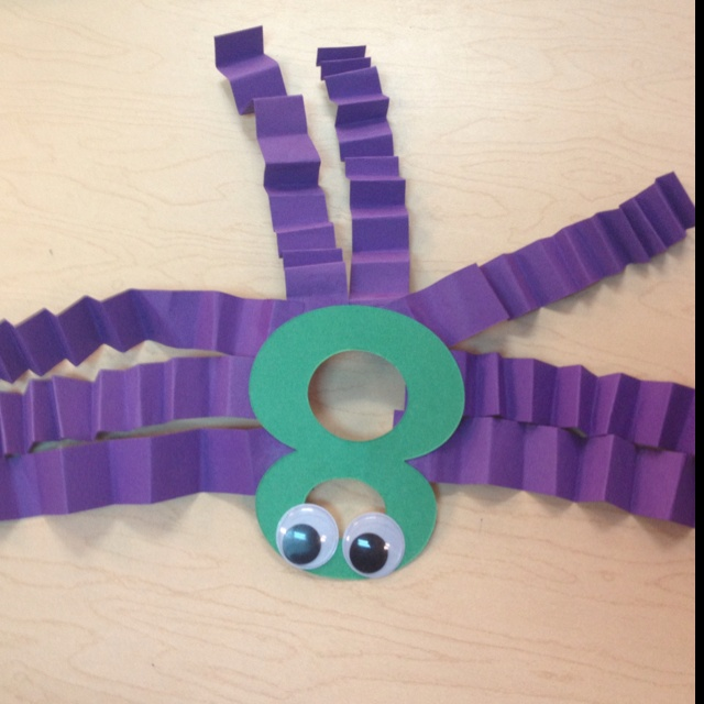 Great for learning about spiders! Die cut number 8 for the body (bodies have 2 sections) and have students glue 8 legs and eyes! Cute educational craft!