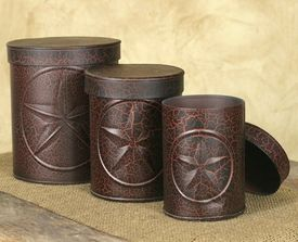 Crackle black and red western star canisters set of 3 kitchen dining food storage food - Western canisters for kitchen ...