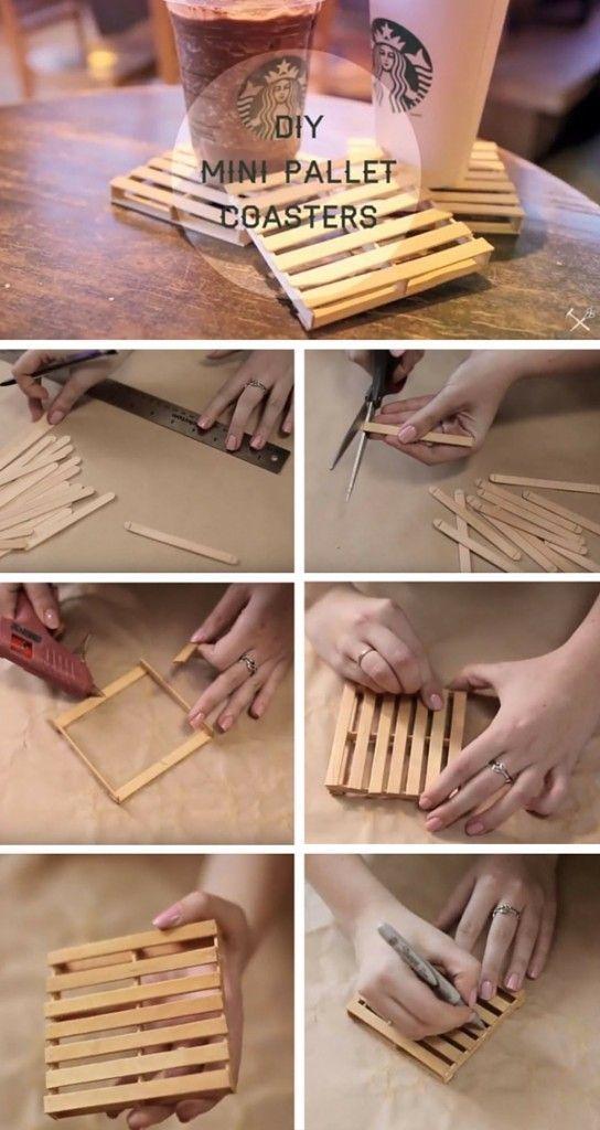 Descanso de panelas em formato de paletes  feito com palitos de sorvete