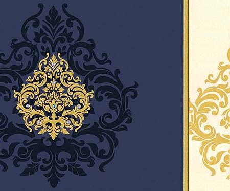 Interfaith Wedding Cards MF2173 - Made from high rich color shimmer finish card of fine quality. A very modern and artistic presentation of gold design is decorated with shimmering kundans on left flap, a die-cut flap on right with gold design.