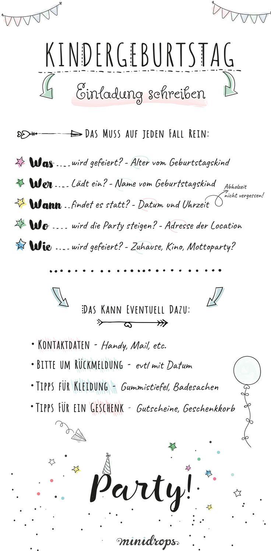 Text Ideen und Beispiele für eine Einladung zum Kindergeburtstag * Nette Vorlagen und Tipps für einen tollen Einladungstext * Ob Mottoparty oder klassisch *