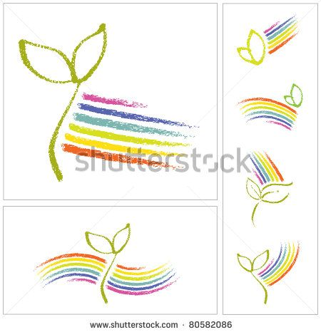 Logo set - Ecology motive, little plant seedling and a rainbow (raster version)