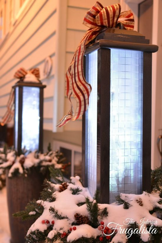 How to build large Outdoor Holiday Lanterns to welcome guests during the holidays | The Interior Frugalista