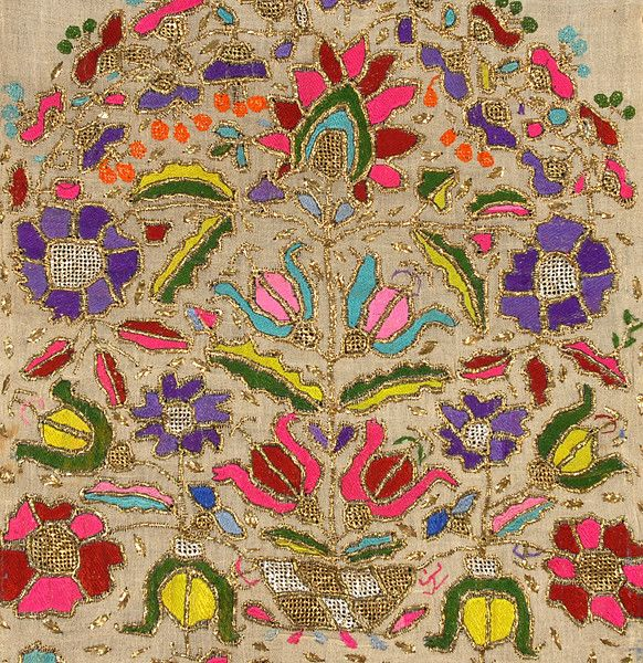 Turkish embroidered towel end 19th/20th C. Silk and gold foil embroidery on linen