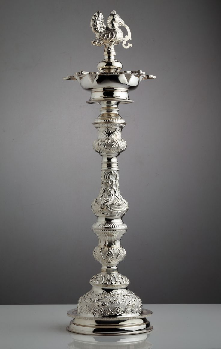 A skillfully crafted silver lamp...