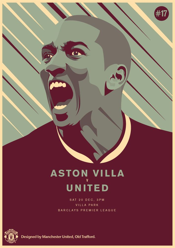 Match poster: Aston Villa vs Manchester United, 20 December 2014. Designed by @manutd.