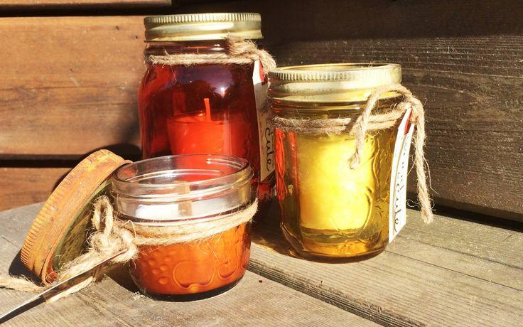 Yellow-Vanilla Bean Orange-Cedar with rusted lids