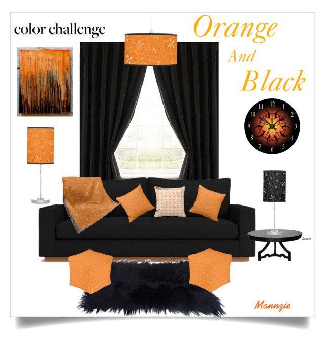"""Orange And Black"" by mannzie on Polyvore featuring interior, interiors, interior design, home, home decor, interior decorating, Eclipse, Noir, orangeandblack and colorchallenge"