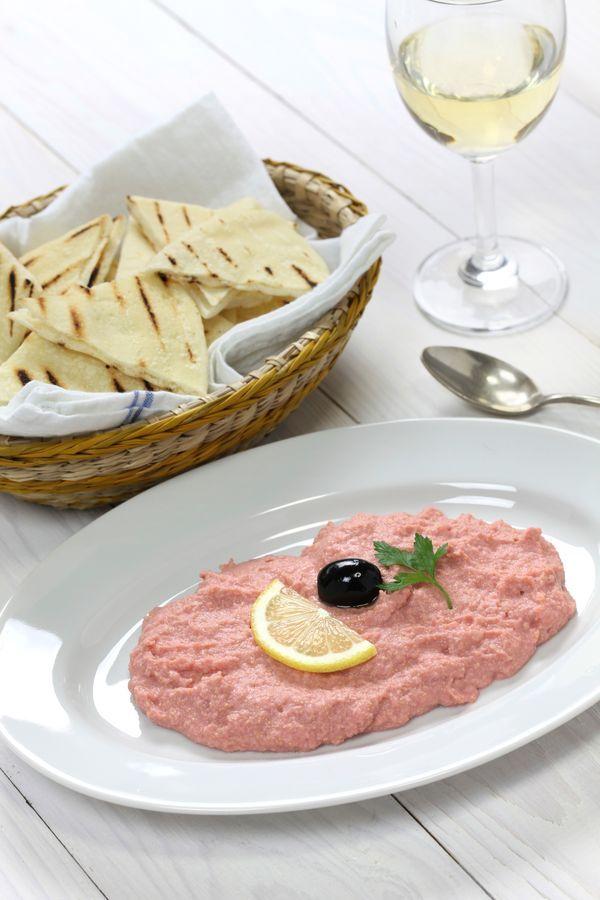 Taramosalata (Ταραμοσαλάτα): Sauce with fish roe, olive oil, lemon and seasoning.