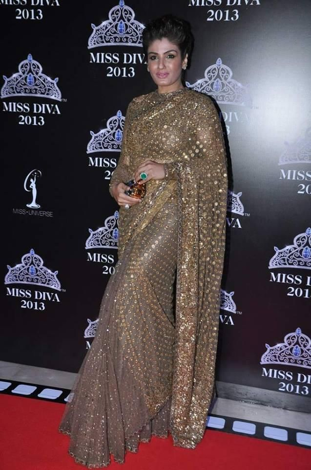 Raveena Tandon in Heavy Gold #Embroidered #Saree by Sabyasachi.