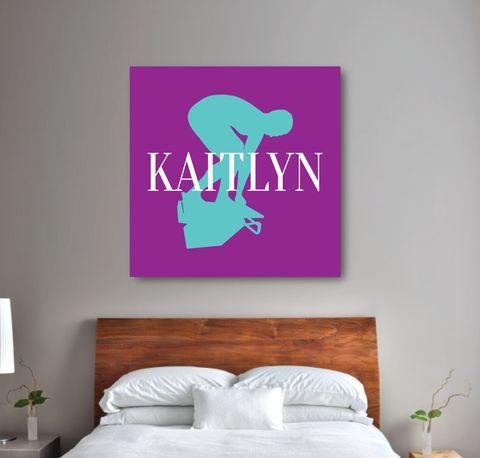 Custom Swimming Canvas for Girls - Swim Teem Gift for Teens - Female Swimmers - White, Purple, Pool