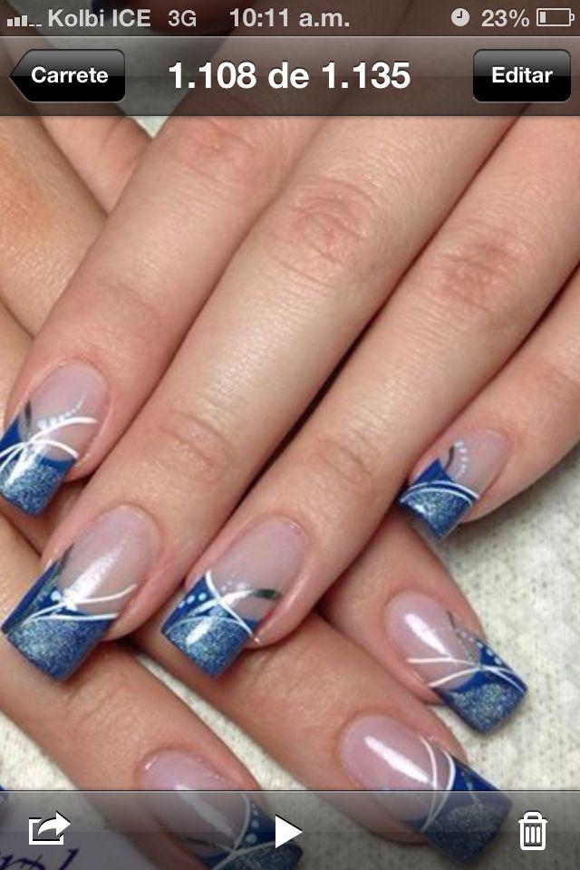 U as azules u as pinterest - Unas azules decoradas ...