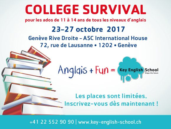 KEY ENGLISH COLLEGE SURVIVAL FOR 11-14 YEAR OLDS, 23 - 27 October 2017