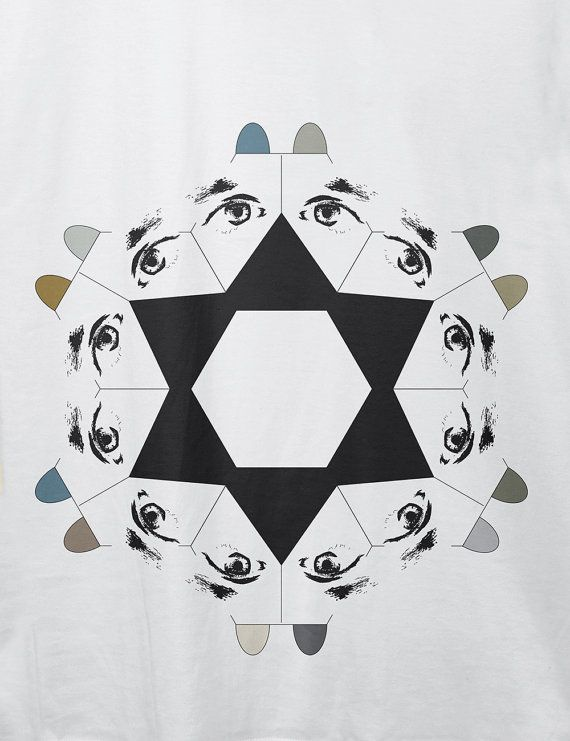 "Men's Organic cotton t-shirt | ""Geometric dogs in a star formation"" 