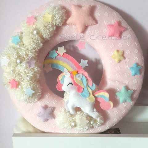 Fuoriporta #feltro #felt  #unicorn #unicorno #rainbow #arcobaleno #babygirl #babylove #handmade #pastel #bambini #amore
