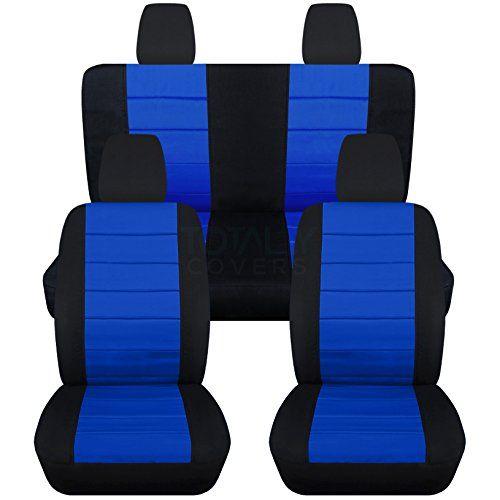 2011-2017 Jeep Wrangler JK Seat Covers: Black & Dark Blue...