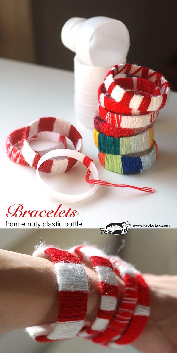 Armbandjes van plastic flessen en wol