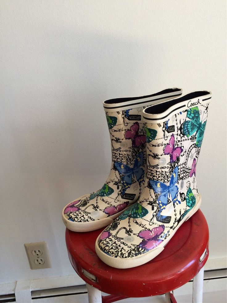 coach rain boots outlet z42b  Coach Boots Butterfly Boots Colorful Rain Boots Garden Boots with  Butterflies These Boots Are Made for Walking 7B Boots April Showers