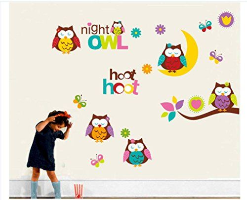 Iusun Kids Room Cartoon Owl Wall Stickers Removable Home Decal *** Want to know more, click on the image.